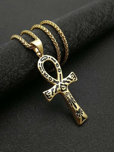 Gold black Necklace Titanium Cross Hip Hop Regligious Necklace