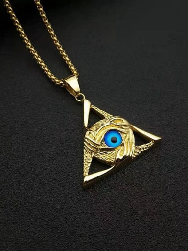 Gold +chain 3mm*61cm Titanium Steel Enamel Triangle Vintage Necklace