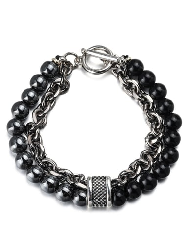Heiliangshi heidanshi Titanium Steel Obsidian Geometric Hip Hop Beaded Bracelet