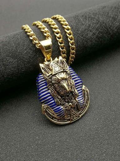 Gold +Chain:5mm*70cm Titanium Steel Enamel Irregular Vintage Necklace
