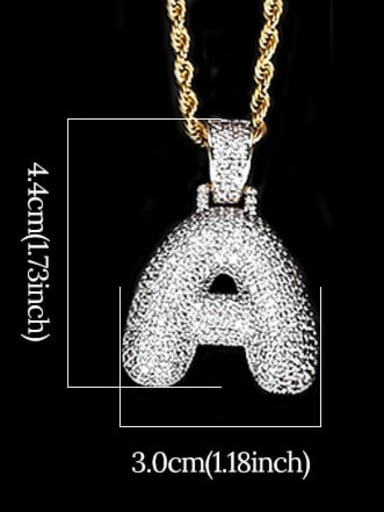 A 24in 61cm T20I01 T20A02 Brass Cubic Zirconia Message Hip Hop Necklace