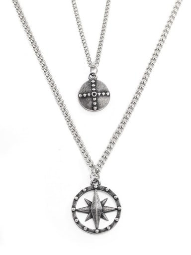 Ancient Titanium Steel Geometric Hip Hop Multi Strand Necklace