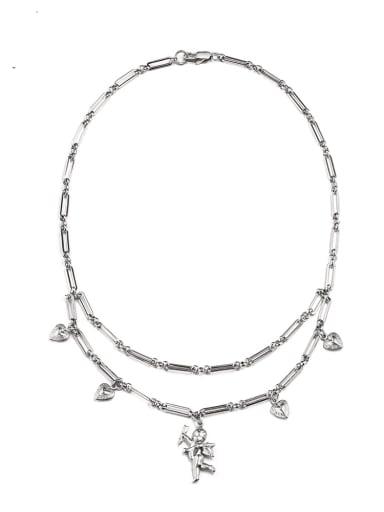 Titanium Steel Heart Hip Hop Multi Strand Necklace