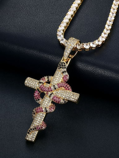 Gold +Chain:4mm*61cm Brass Cubic Zirconia Cross Vintage Regligious Necklace