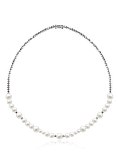Pearl necklace 55cm Stainless steel Imitation Pearl Geometric Hip Hop Necklace