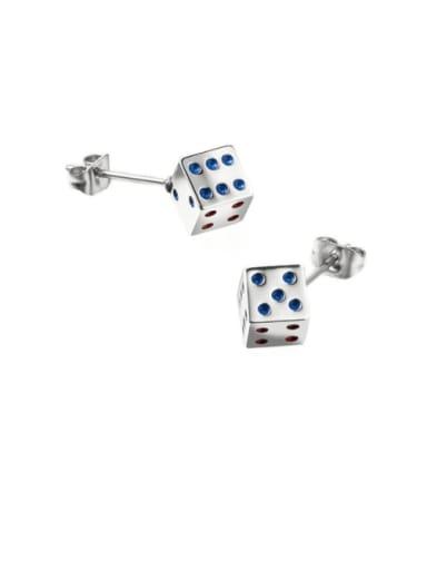Titanium Steel Enamel Dice Minimalist Stud Earring
