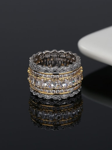 Brass Cubic Zirconia Round Hip Hop Band Ring