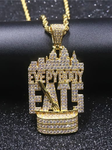 Copper Letter Cubic Zirconia Irregular Hip Hop Initials Pendant  Necklace