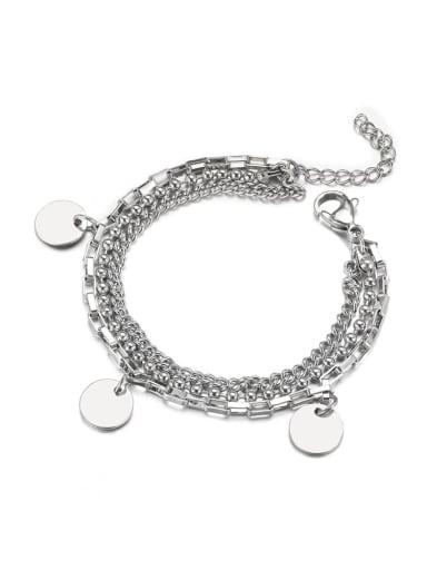Steel color Titanium Steel Irregular Hip Hop Strand Bracelet