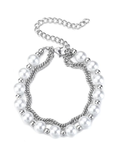 Titanium Steel Imitation Pearl Irregular Hip Hop Strand Bracelet