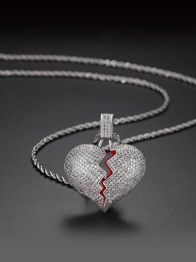 Copper Cubic Zirconia Heart Hip Hop Necklace