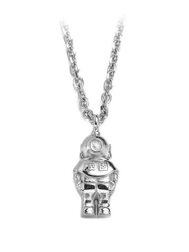 Steel Titanium Steel Hip Hop Space Astronaut Necklace