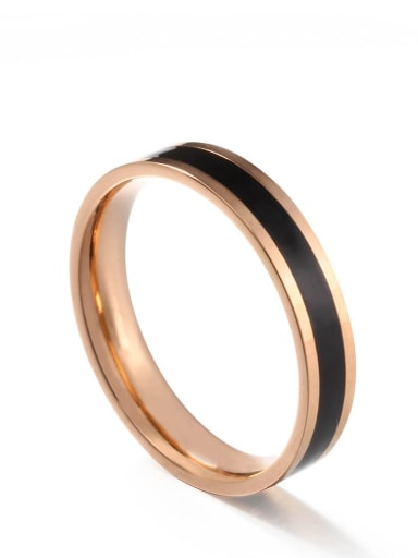 Rose gold black gum Titanium Steel Enamel Round Minimalist Band Ring