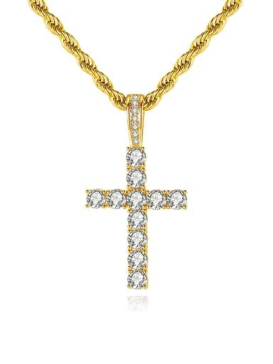 Brass Cubic Zirconia Cross Hip Hop Regligious Necklace