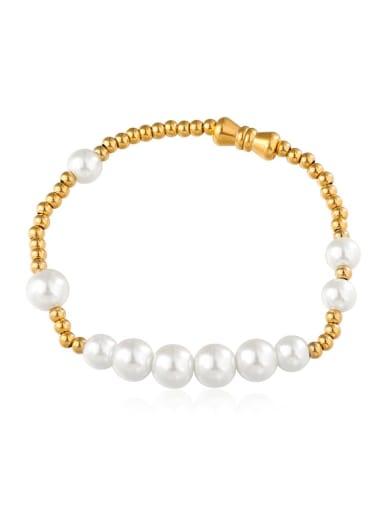 golden Titanium Steel Imitation Pearl Round Minimalist Beaded Bracelet