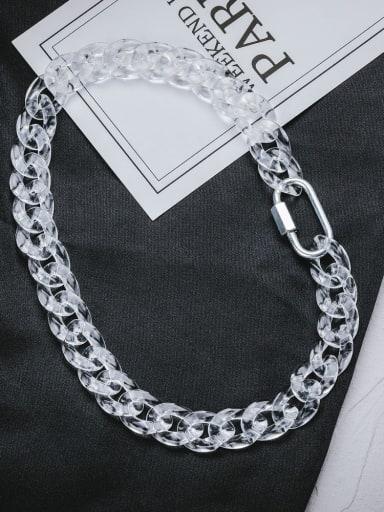 Transparent color 43cm Titanium Steel Acrylic Geometric Hip Hop Necklace
