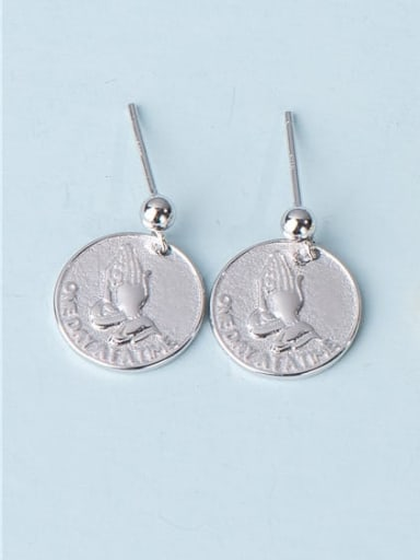 925 Sterling Silver Round Prayer Hand  Vintage Drop Earring