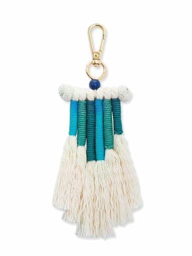 Blue k68210 Alloy Bead Cotton Rope Tassel Bohemia Hand-Woven  Bag Pendant
