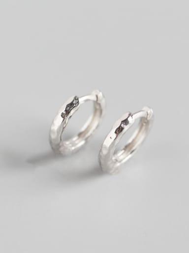 1#Platinum 925 Sterling Silver Geometric Luxury Huggie Earring
