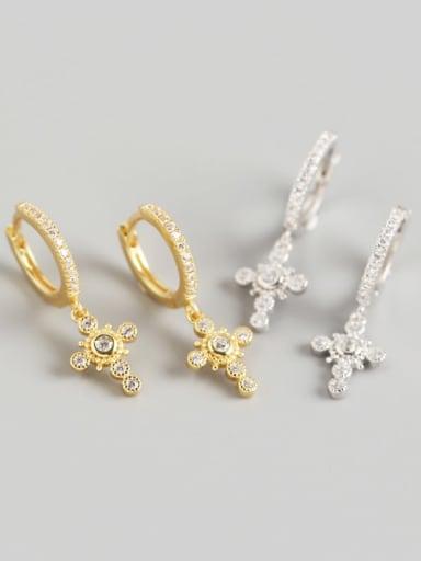 925 Sterling Silver Rhinestone White Cross Luxury Huggie Earring