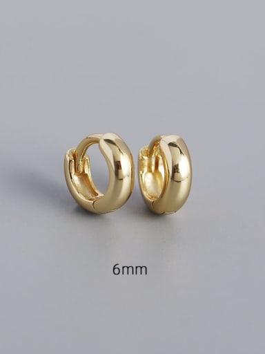 6mm gold 925 Sterling Silver Geometric Minimalist Huggie Earring