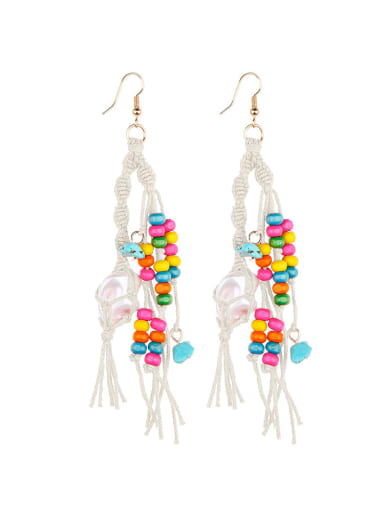 Beibai e68745 Alloy Turquoise Cotton Rope  Wooden beads Tassel Artisan Hand-Woven Drop Earring