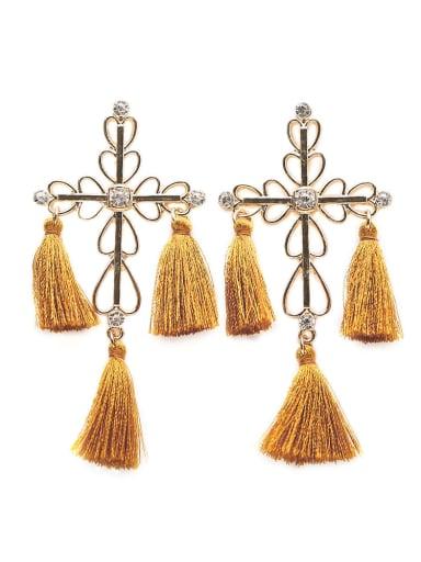 Yellow e68264 Stainless steel Cotton Tassel Bohemia Hand-Woven Drop Earring