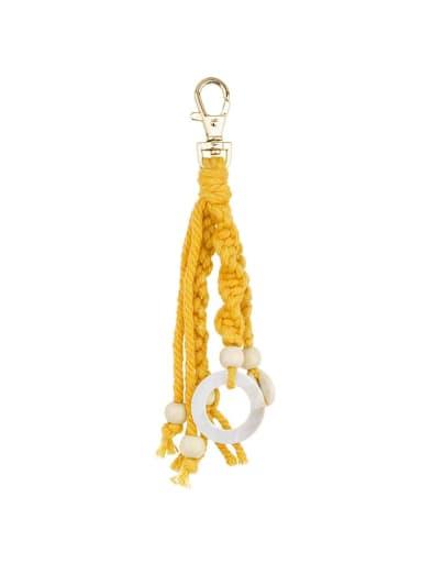 K68164 Alloy Shell Cotton Rope  Round Artisan Hand-Woven  Bag Pendant