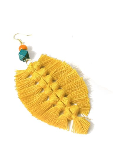 Yellow e68622 Alloy Wooden beads Cotton Rope Tassel Bohemia Hand-Woven  Drop Earring