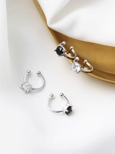 925 Sterling Silver Cubic Zirconia White Geometric Minimalist Clip Earring