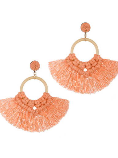 Orange e68743 Alloy Cotton Tassel Bohemia Hand-Woven Stud Earring