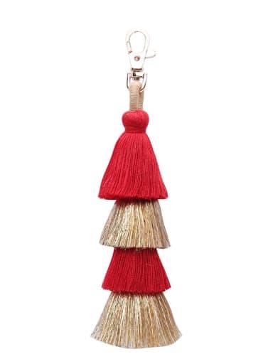 K68034 red Alloy Cotton Rope  Tassel Hand-Woven Bohemia Bag Pendant