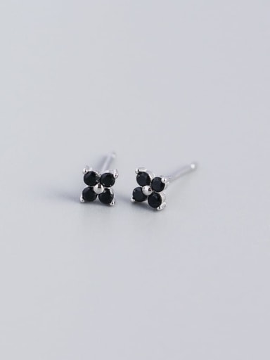 White Gold Black Stone 925 Sterling Silver Cubic Zirconia Flower Dainty Stud Earring