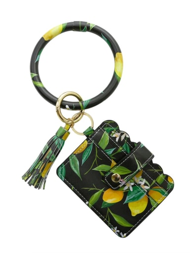 Black k68246 Alloy Leather Plant pattern Wrist Card Holder Key Chain