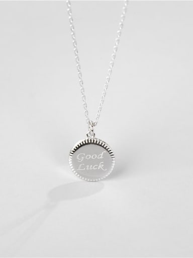 925 Sterling Silver Round Letter Minimalist Necklace
