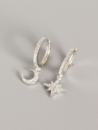 1#Platinum 925 Sterling Silver Rhinestone White Star Trend Huggie Earring