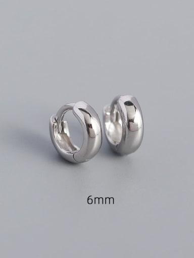 6mm white gold 925 Sterling Silver Geometric Minimalist Huggie Earring