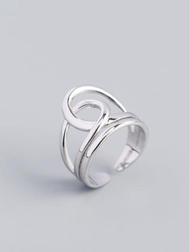 Platinum 925 Sterling Silver Geometric Vintage Band Ring