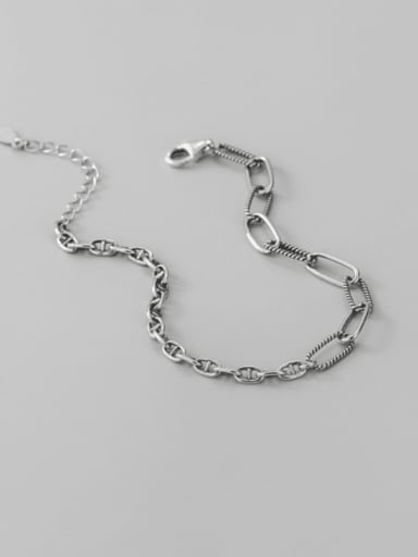 925 Sterling Silver Geometric Vintage Asymmetric chain Link Bracelet