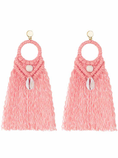 E68742 Pink Alloy Shell Cotton Tassel Bohemia  Hand-woven  Drop Earring