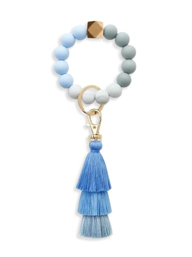 Tranquil blue k68228 Alloy  Cotton Rope Silicone Bead Tassel Bracelet /Key Chain