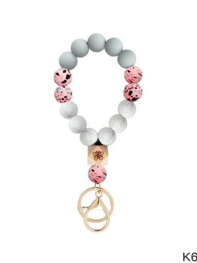 Peach powder Silicone beads + camouflage Multi Color Bracelet /Key Chain