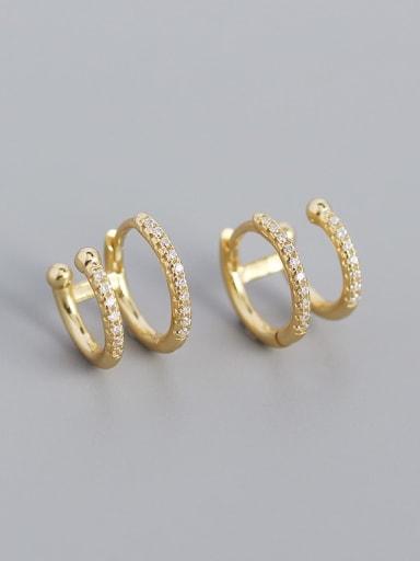 Gold 925 Sterling Silver Cubic Zirconia Geometric Minimalist Clip Earring
