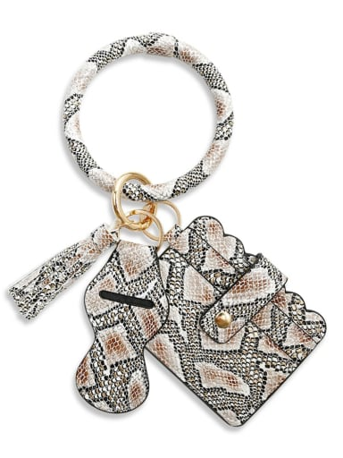 Snake coffee k68216 Alloy Leather Leopard Card package Hand Ring Key Chain