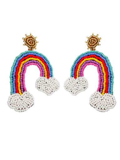 E68848 Alloy Bead Multi Color Non-woven fabric Rainbow Bohemia Hand-Woven Drop Earring