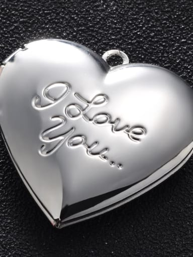 silvery Copper Message Heart Charm Height : 28.7mm , Width: 28.7 mm