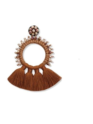 Coffee e68832 Alloy Bead Cotton Rope Tassel Bohemia Hand-Woven Drop Earring