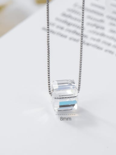 Square generous sugar 925 Sterling Silver Swarovski Crystal Multi Color Geometric Minimalist Necklace