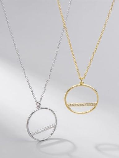 925 Sterling Silver Cubic Zirconia Round Minimalist Necklace