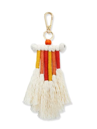 K68210 Alloy Bead Cotton Rope Tassel Bohemia Hand-Woven  Bag Pendant